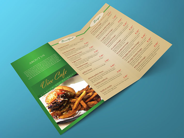 Salad Restaurant Tri Fold Menu Template Multi Purpose Tri Fold Menu - 3 fold menu template