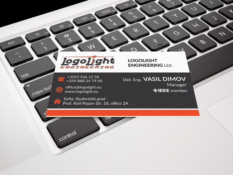Creatica Studio Designed Business Cards For Logolight Engineering Ltd Company In The Field Of Industrial Lighting Design And Supply Production